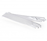 Long White Nylon Gloves - Large