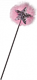 Silver Sequin Star Wand with Pink Maribou