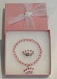 Crown Bracelet and Ring - Pink